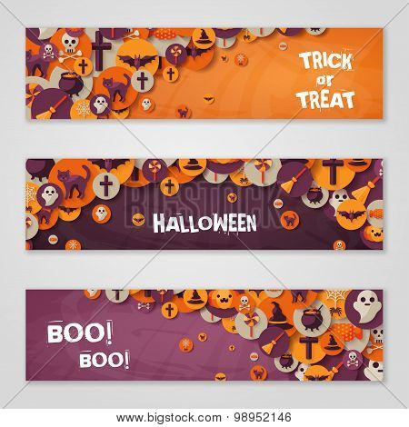 Halloween Horizontal Banners with Flat Icons