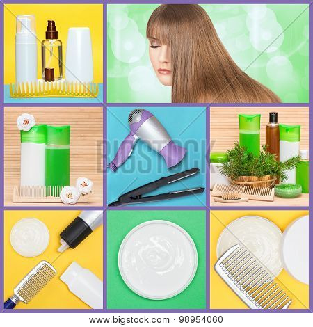 Hair Care And Styling Products And Implements Collage