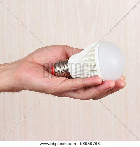 Hand holding ecofriendly led bulb on light wood background