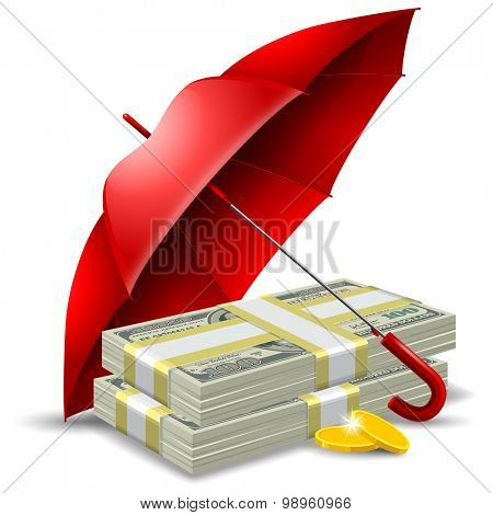 Packs of dollars and golden coins under the red umbrella. Concept of money protect. Vector illustration. Isolated on white background.