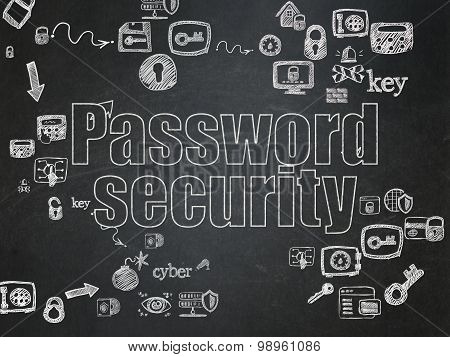Security concept: Chalk White text Password Security on School Board background with Scheme Of Hand Drawn Security Icons, 3d render poster