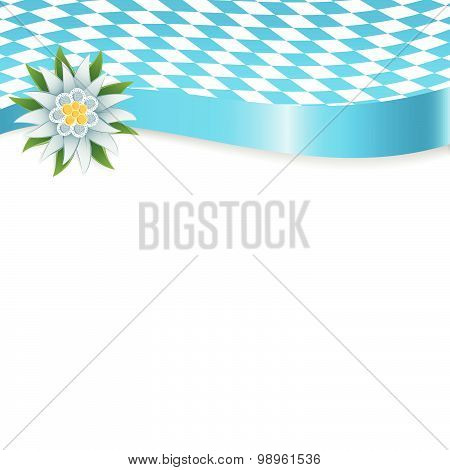 Banner In Bavarian Colors With Edelweiss