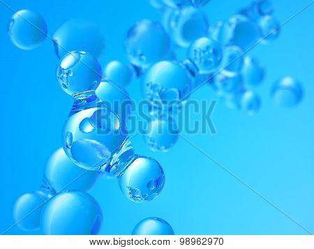 Abstract Background With A Molecules Of Water.