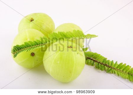 Indian gooseberries with leaves.