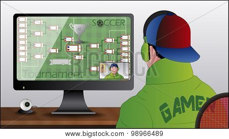 Illustration of a PC Gamer with Web Cam poster