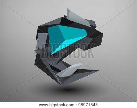 3D Prism Font - E