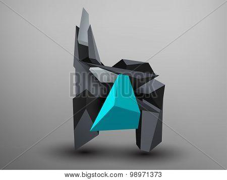 3D Prism Font - H