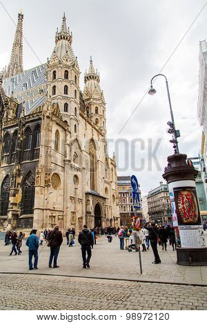 Peolpe near St. Stephen's Cathedral in Vienna