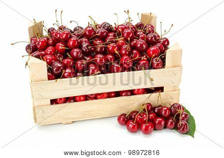 Sweet Cherries (prunus Avium) In Wooden Crate