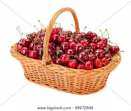 Sweet Cherries (prunus Avium) In Wicker Basket