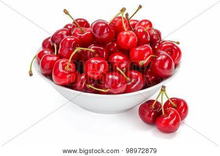 Sweet Cherries (prunus Avium) In Plate