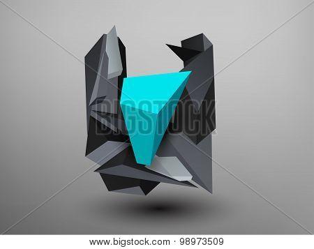 3D Prism Font - U