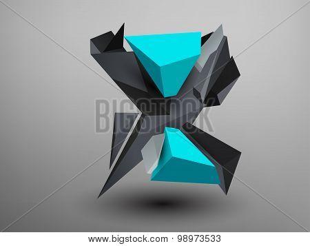 3D Prism Font - X