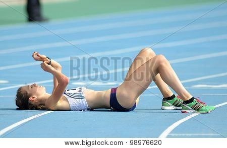 BARCELONA - JULY, 11: Anezka Drahotova of Czech Republic during 10000 metres race walk of of the 20th World Junior Athletics Championships at the Stadium on July 11, 2012 in Barcelona, Spain