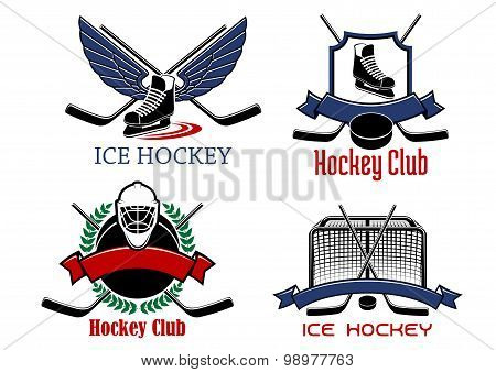 Ice hockey badges and icons