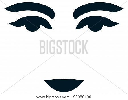 Vector Beautiful Woman Eyes And Lips Isolated