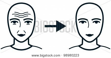 Vector Illustration Face Before And After Treatment