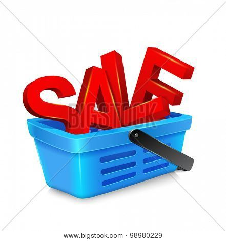 vector shopping cart with big, bulky, red letters,