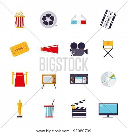 Movie and cinema isolated icons vector set. Collection of 16 flat design cinema and movie themed vector icons isolated on white background