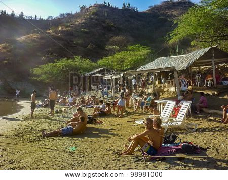 Small Crowded Beach In Taganga Colombia