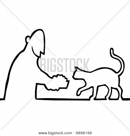 Black and white drawing of a guy giving a bowl of food to his pet cat. poster