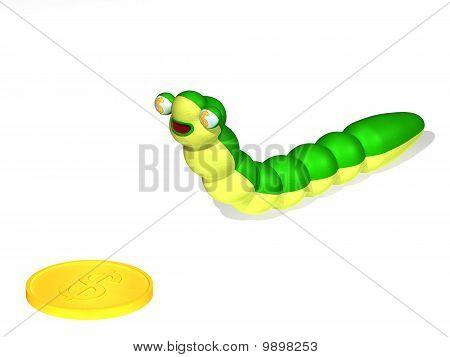 Caterpillar And Coin