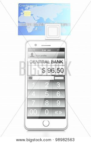White smartphone to the connected bank terminal and credit cards in it isolated on a white background poster