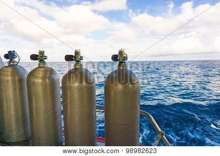 Oxigen Tanks On Boat For Scuba Diving