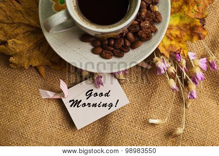 The Cup Of Coffee With Maple Leaves And Everlasting Flowers