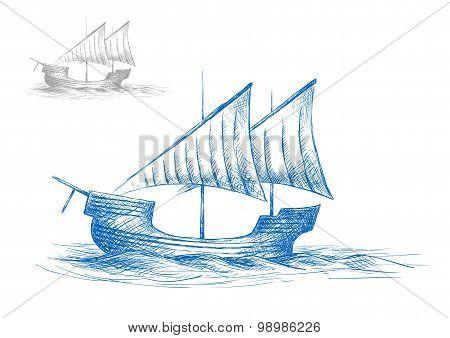 Sketch of old medieval sailing ship