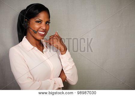 Young Callcenter Operator Smiling At The Camera