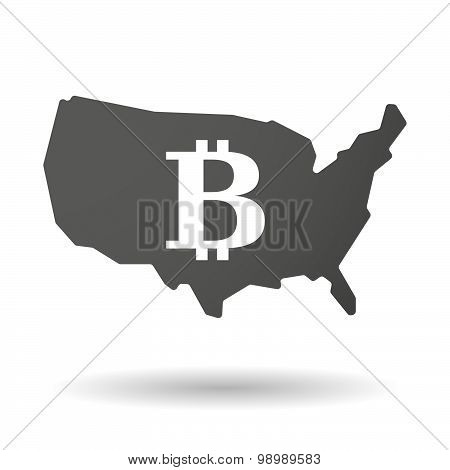 Illustration of an isolated USA map icon with a bit coin sign poster