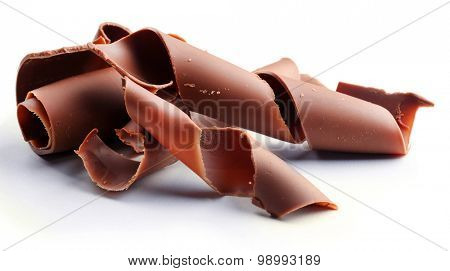 Chocolate curls isolated on white poster