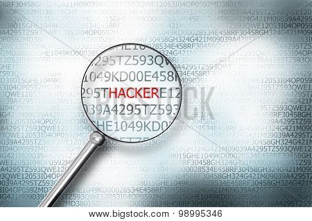 reading the word hacker on digital computer screen with a magnifying glass internet security poster