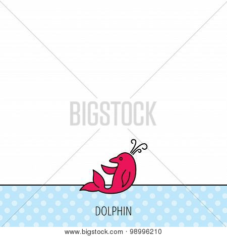 Dolphin icon. Cetacean mammal sign. Delphinidae with fountain symbol. Circles seamless pattern. Background with red icon. Vector poster