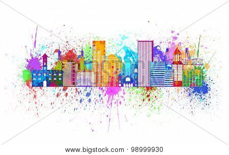 Portland Oregon Outline Silhouette with City Skyline Downtown Panorama Paint Splatter Color Isolated on White Background Illustration poster