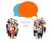 Opinion poll flat illustration of two groups of people and speech bubbles between them poster