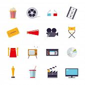 Movie and cinema isolated icons vector set. Collection of 16 flat design cinema and movie themed vector icons isolated on white background poster