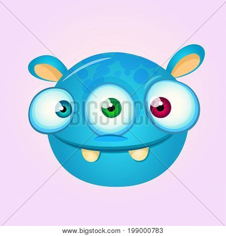 Happy cartoon alien head. Vector illustration of monster head
