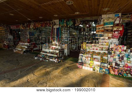 ALANYA TURKEY - JULY 07 2015: Market rows with traditional Turkish spices souvenirs and sweets. Anatolian coast - a popular holiday destination for European tourists.