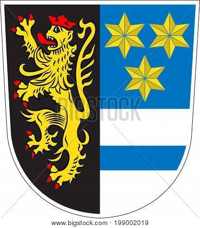Coat of arms of Neustadt an der Waldnaab is a district in Upper Palatinate of Germany. Vector illustration from the