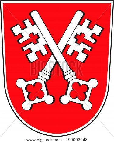 Coat of arms of Regensburg is a city in Upper Palatinate in Bavaria of south-east Germany. Vector illustration from the