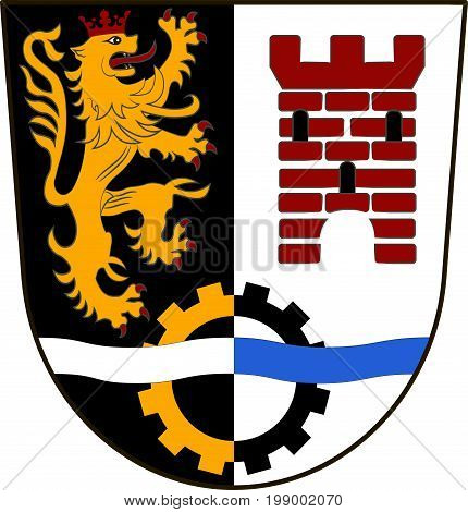 Coat of arms of Schwandorf is a district in Upper Palatinate of Bavaria Germany. Vector illustration from the
