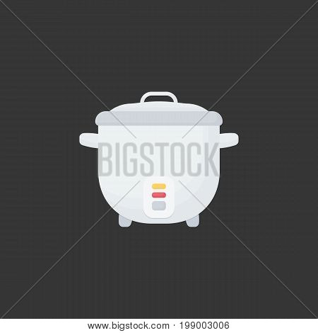 Rice cooker vector flat icon Flat design of cooking utensil electrical equipment kitchenware object on the dark background vector illustration with shadows