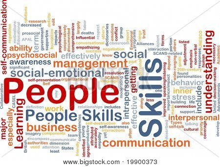 Background concept wordcloud illustration of people skills