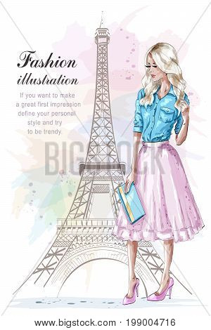 Beautiful blonde hair girl with hand bag. Fashion woman with eiffel tower on background. Hand drawn young woman in fashion clothes. Sketch. Vector illustration.