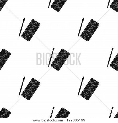 Palette with paints and brush. Paint in school.School And Education single icon in black style vector symbol stock web illustration.