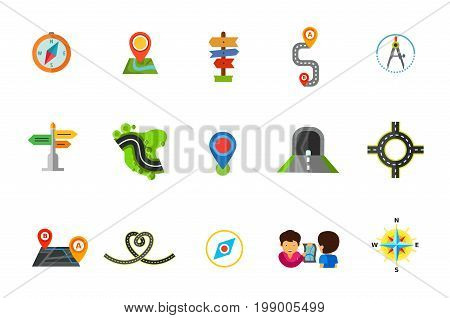 Location icon set. Compass Map Pointer Direction Path Route Road and Grass Tunnel Ring Road Road in Shape of Heart Man Showing Map on Handkerchief