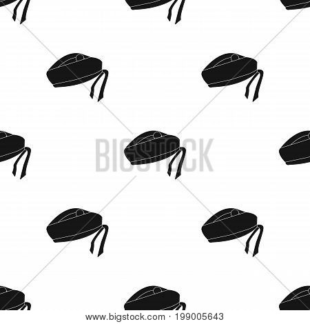 Scottish National traditional cap or beret with bubo and green checkered pattern in red colors.Scotland single icon in black style vector symbol stock web illustration.