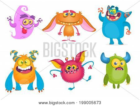 Cute cartoon Monsters. Vector set of cartoon monsters: ghost goblin bigfoot yeti troll and alien. Halloween characters isolated